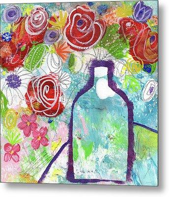 Sunday Market Flowers 2- Art By Linda Woods Metal Print by Linda Woods