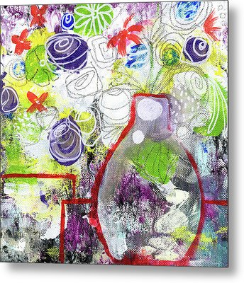 Sunday Market Flowers 3- Art By Linda Woods Metal Print