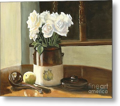 Metal Print featuring the painting Sunday Morning And Roses - Study by Marlene Book