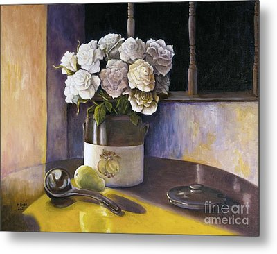 Metal Print featuring the painting Sunday Morning And Roses Redux by Marlene Book