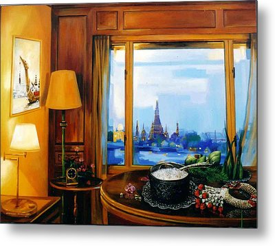 Metal Print featuring the painting Sunday Morning by Chonkhet Phanwichien