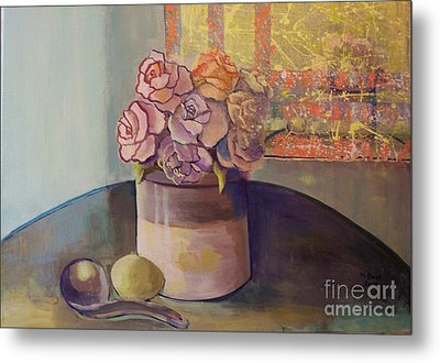 Sunday Morning Roses Through The Looking Glass Metal Print