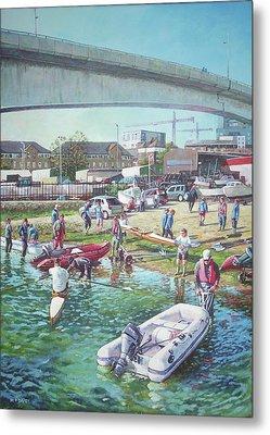 Sunday Morning Rowing At Itchen Bridge, Southampton  Metal Print by Martin Davey
