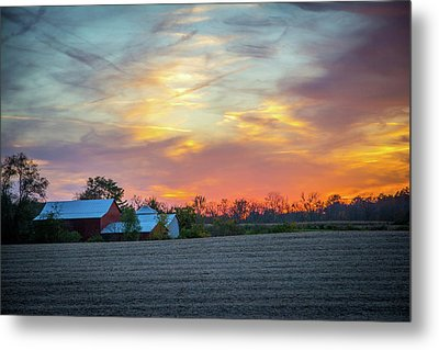 Sundown On The Farm Metal Print