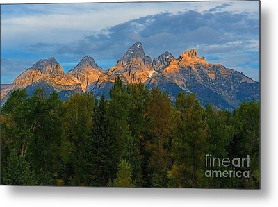 Sundrise On Grand Tetons Metal Print by Sharon Seaward