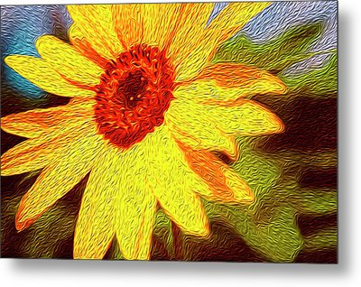 Sunflower Abstract Metal Print by Les Cunliffe