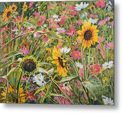 Metal Print featuring the painting Sunflower And Cosmos by Steve Spencer