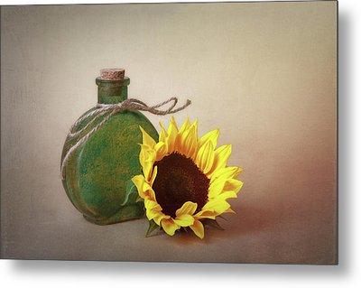 Sunflower And Green Glass Still Life Metal Print by Tom Mc Nemar