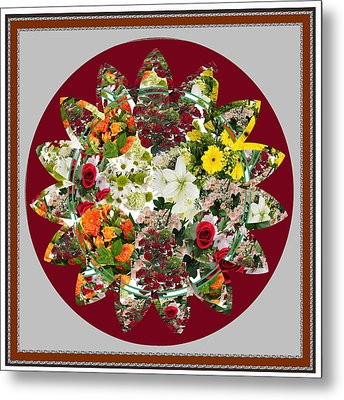Sunflower Bouquet Flower Arrangement  Created By Navin Joshi Artist Metal Print