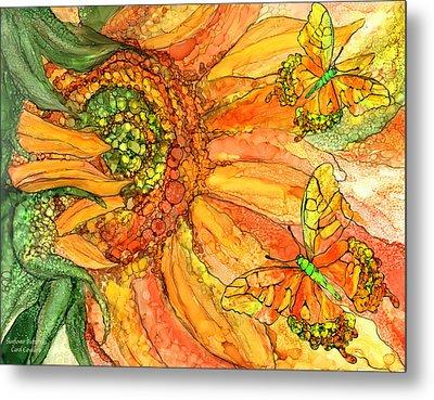 Sunflower Butterflies Metal Print