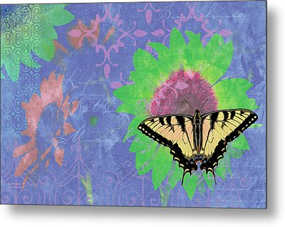 Sunflower Butterfly Blue Metal Print