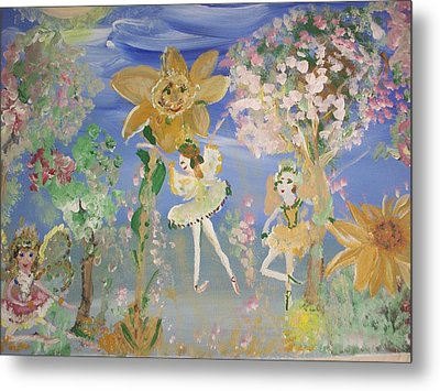 Metal Print featuring the painting Sunflower Fairies by Judith Desrosiers
