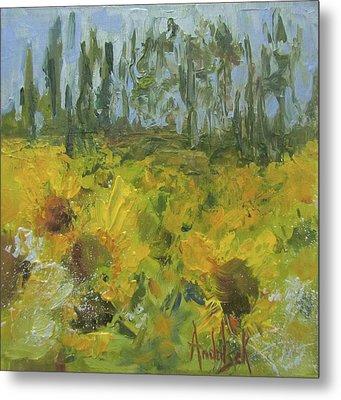 Sunflower Field Metal Print by Barbara Andolsek