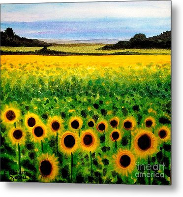Metal Print featuring the painting Sunflower Field by Elizabeth Robinette Tyndall