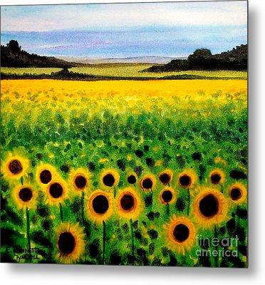 Sunflower Field Metal Print by Elizabeth Robinette Tyndall