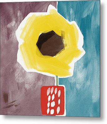 Sunflower In A Small Vase- Art By Linda Woods Metal Print