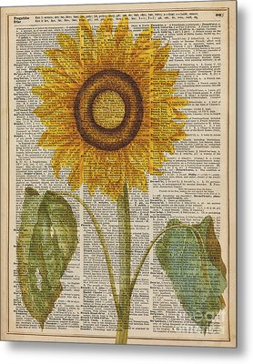 Sunflower Over Dictionary Page Metal Print