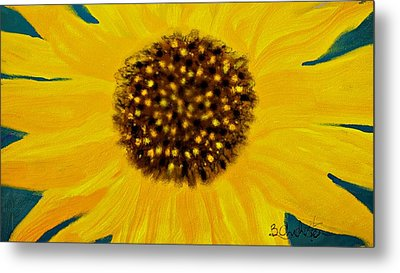 Sunflower Painting Metal Print by Barbara Chichester