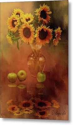 Sunflower Reflections Metal Print by Theresa Campbell
