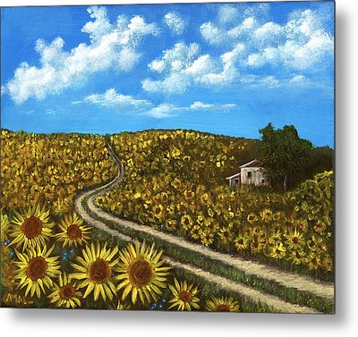 Metal Print featuring the painting Sunflower Road by Anastasiya Malakhova