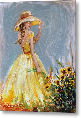 Metal Print featuring the painting Sunflower Seduction by Jennifer Beaudet