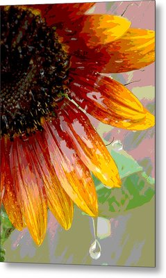 Metal Print featuring the photograph Sunflower Shower by Lori Mellen-Pagliaro