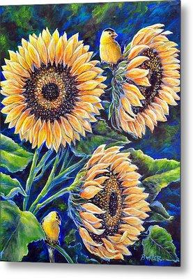 Sunflower Supper Metal Print by Gail Butler