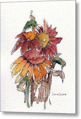 Metal Print featuring the painting Sunflower Trio #2 by Anne Duke