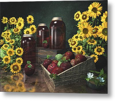 Sunflowers And Apples 2 Metal Print
