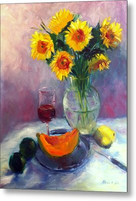 Sunflowers And Cantaloupe Metal Print by Patricia Lyle