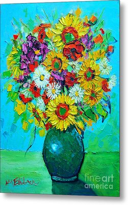 Sunflowers And Daises Metal Print by Ana Maria Edulescu