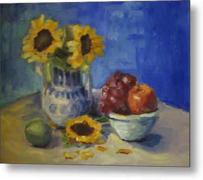 Sunflowers And Fruit Metal Print