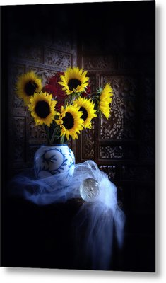 Sunflowers And Globe Metal Print by Linda Olsen