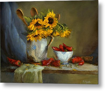 Sunflowers And Paprika Metal Print