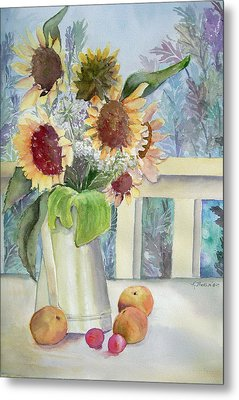Sunflowers And Peaches Metal Print by Katherine  Berlin