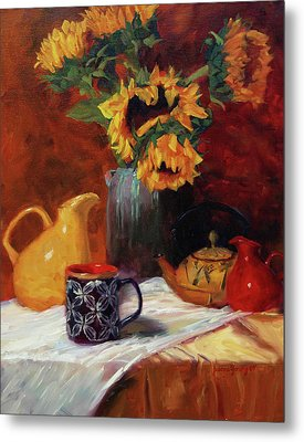 Sunflowers And Undersea Vase Metal Print by Jeanne Young