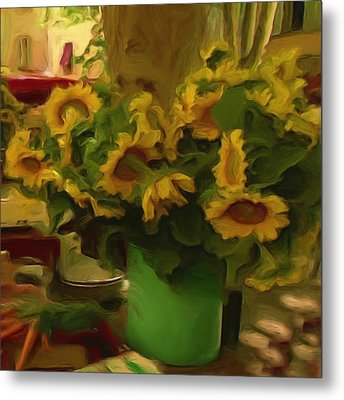 Metal Print featuring the painting Sunflowers At The Market by Shelley Bain