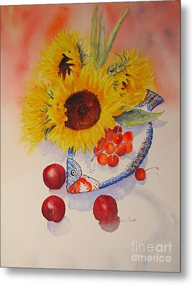 Metal Print featuring the painting Sunflowers by Beatrice Cloake