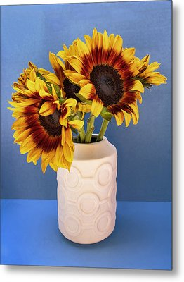 Sunflowers In Circle Vase Tournesols Metal Print by William Dey