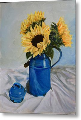 Sunflowers In Milkcan Metal Print by Sandra Nardone