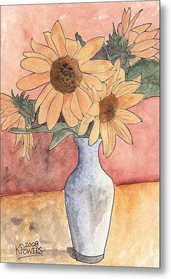 Sunflowers In Vase Sketch Metal Print by Ken Powers