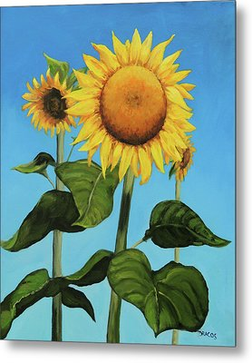 Sunflowers On A Summer Day Metal Print by Dottie Dracos