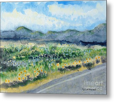 Sunflowers On The Way To The Great Sand Dunes Metal Print by Holly Carmichael