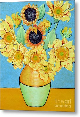 Sunflowers Tribute To Vincent Van Gogh II Metal Print by Christine Belt