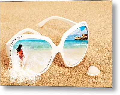 Sunglasses In The Sand Metal Print by Amanda Elwell