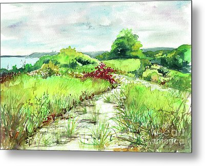 Metal Print featuring the painting Sunken Meadow, September by Susan Herbst