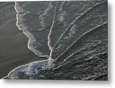 Sunlit Beach Wave Metal Print by Mike Coverdale