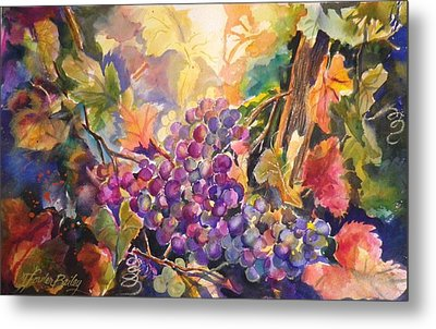 Sunlit Grapes Upclose Sold Metal Print by Therese Fowler-Bailey
