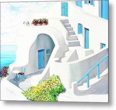 Sunlit In Santorini - Prints Of My Original Oil Painting Metal Print