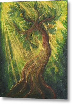 Sunlit Tree Metal Print
